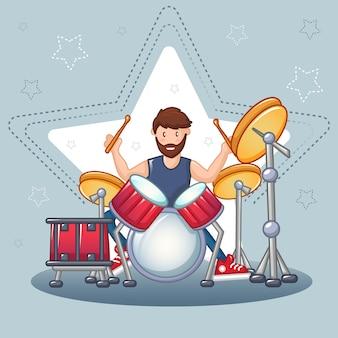 Conceito de baterista de rock, estilo cartoon