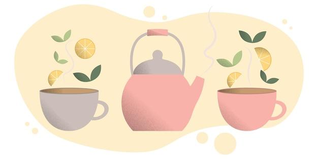 Conceito de beber chá um conjunto de bule e duas canecas xícaras de chá quente chaleira quente folhas de chá e limão