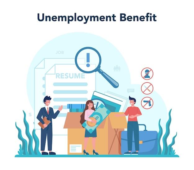 Conceito de benefício de desemprego.