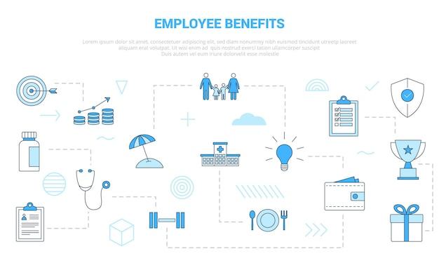Conceito de benefícios para funcionários com banner de modelo de conjunto de ícones com ilustração em vetor moderno estilo de cor azul