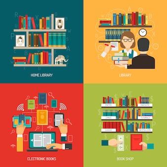 Conceito de biblioteca 4 praça de ícones plana