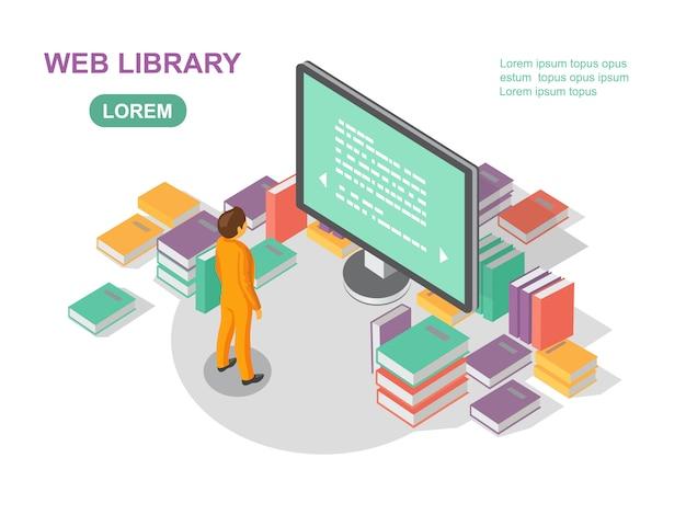 Conceito de biblioteca de livro de mídia. lendo arquivo da web.