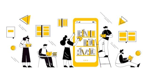 Conceito de biblioteca de livros online