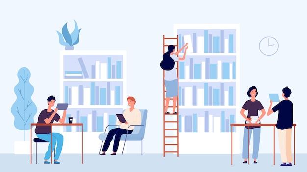 Conceito de biblioteca. espaço de coworking dos alunos. biblioteca universitária, personagens de pessoas planas. biblioteca educacional de ilustração, alunos com estudo de livro