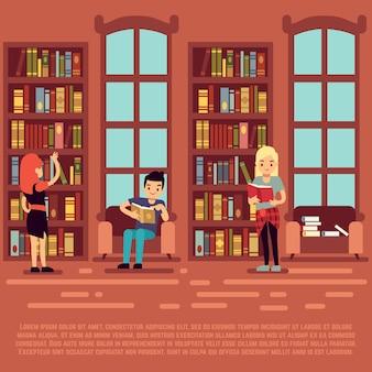 Conceito de biblioteca interior - adolescentes e estudantes rading livros na biblioteca