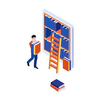 Conceito de biblioteca online com estante isométrica na tela do tablet e homem carregando livros