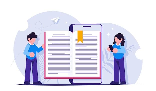 Conceito de biblioteca online. ensino à distância. reserve na tela do celular. pessoas lendo um livro