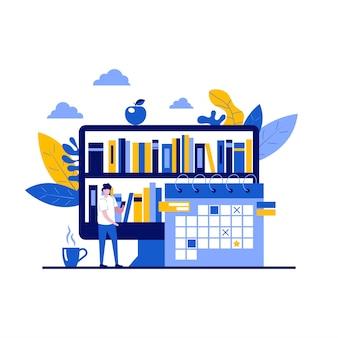 Conceito de biblioteca virtual com personagem. estantes digitais, leitura online, livraria, universidade de literatura.
