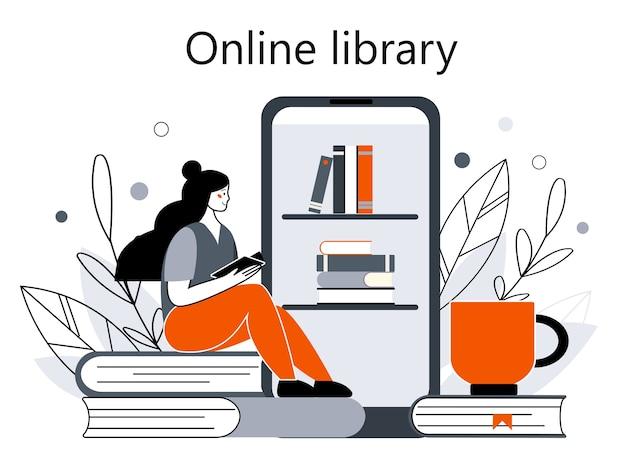 Conceito de bibliotecas na internet, livrarias. aplicativos de leitura e download de livros, audiolivros. ilustração em estilo cartoon plana