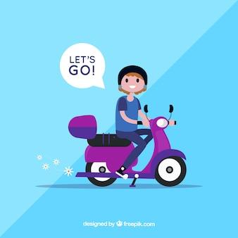 Conceito de bicicleta elétrica com mulher dizendo vamos para