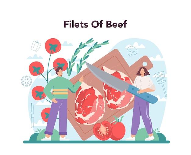 Conceito de bife. pessoas cozinhando saborosa carne grelhada no prato. carne de churrasco deliciosa. refeição de restaurante assada. ilustração em vetor isolada em estilo cartoon