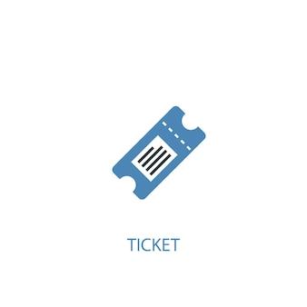 Conceito de bilhete 2 ícone colorido. ilustração do elemento azul simples. projeto de símbolo de conceito de bilhete. pode ser usado para ui / ux da web e móvel