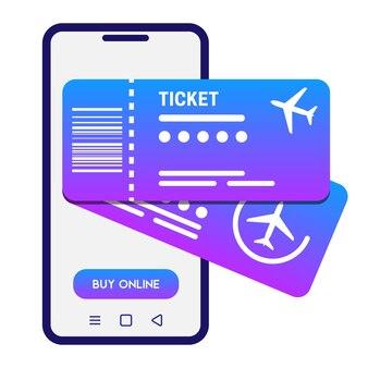 Conceito de bilhetes online ilustração vetorial smartphone branco e 2 bilhetes de avião