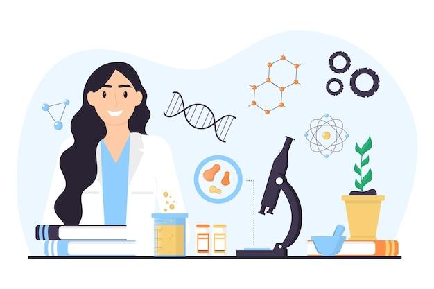 Conceito de biotecnologia de cientista mulher plana