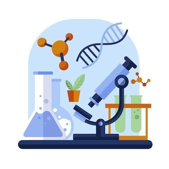 Conceito de biotecnologia de design plano ilustrado