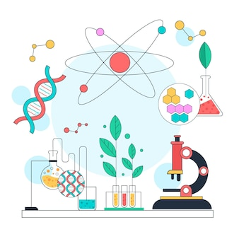 Conceito de biotecnologia de ilustração científica plana