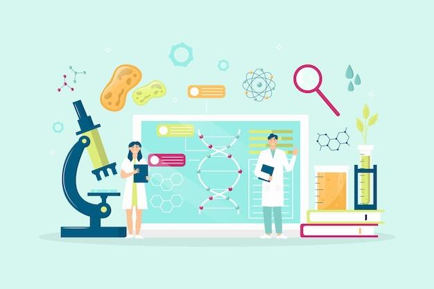 Conceito de biotecnologia de ilustração plana