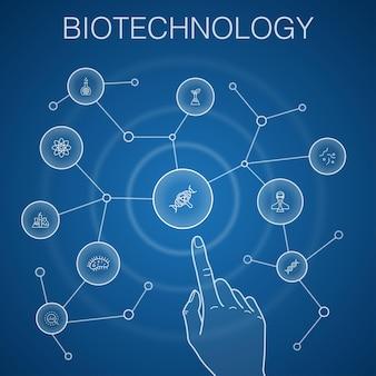 Conceito de biotecnologia, fundo azul. dna, ciência, bioengenharia, ícones de biologia