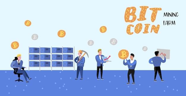 Conceito de bitcoin com pôster plano de personagens de desenhos animados