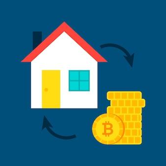 Conceito de bitcoin de casa. ilustração em vetor de comprar um edifício.