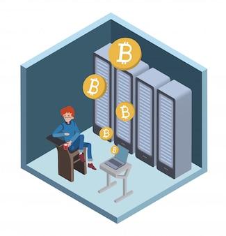 Conceito de bitcoin de mineração. jovem sentado em frente ao computador na sala do servidor. fazenda de mineração de criptomoedas. ilustração em projeção isométrica.