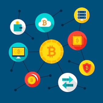 Conceito de bitcoin digital. ilustração vetorial com ícones de tecnologia financeira.
