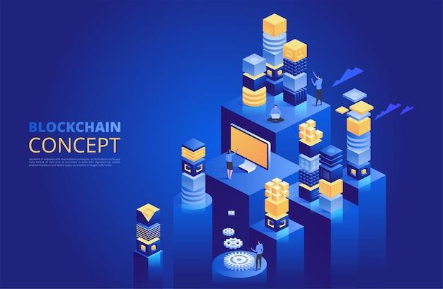 Conceito de blockchain. blocos digitais isométricos. cadeia de criptografia