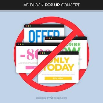 Conceito de bloco de anúncio colorido com design plano