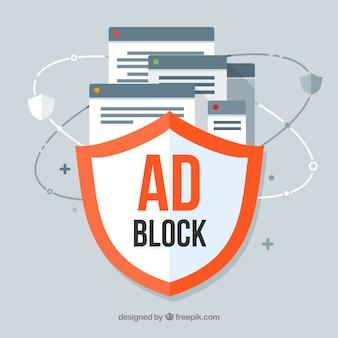 Conceito de bloco de anúncios com design plano