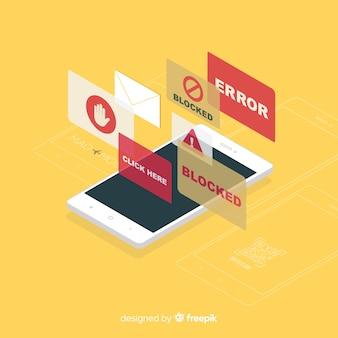 Conceito de bloco de anúncios modernos com vista isométrica