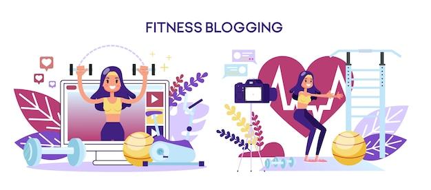 Conceito de blog de fitness. personagem feminina fazendo exercícios
