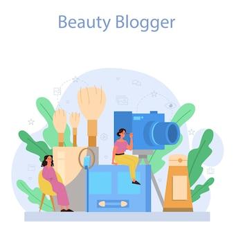 Conceito de blogger de beleza em vídeo