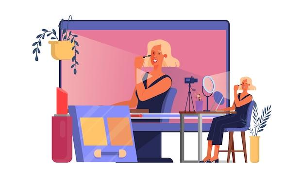 Conceito de blogger de vídeo. celebridade da internet na rede social. popular blogueira fazendo maquiagem. ilustração
