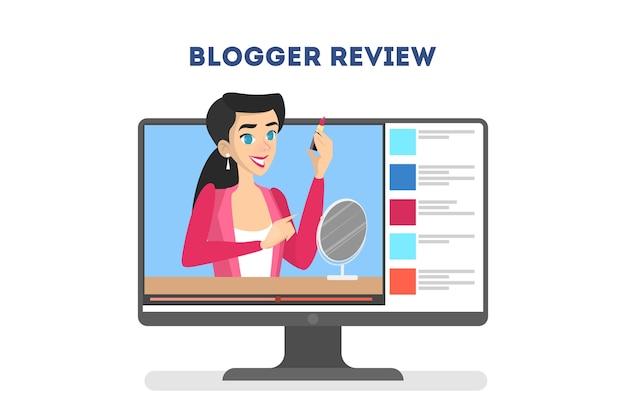 Conceito de blogger de vídeo. celebridade da internet na rede social