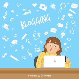 Conceito de blogging doodle