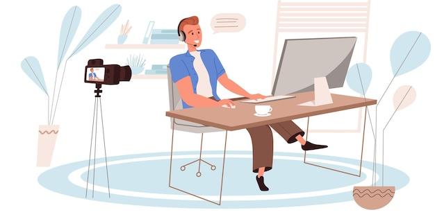 Conceito de blogging em design plano. o blogger reproduz jogos e streaming no blog. jogador jogando no computador e gravando na câmera. criação de conteúdo de vídeo, cena de pessoas em redes sociais. ilustração vetorial