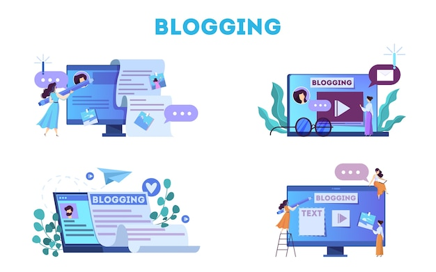 Conceito de blogging. idéia de mídia social e rede.