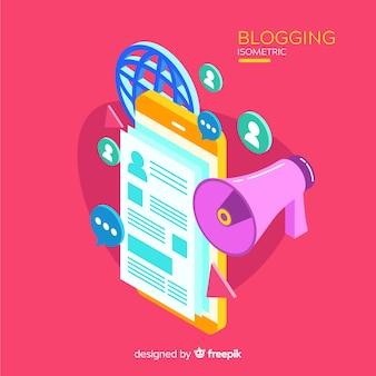 Conceito de blogging isométrico