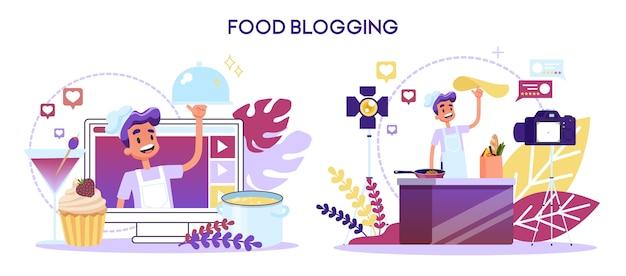 Conceito de blogueiro de comida. cozinhando em uma câmera