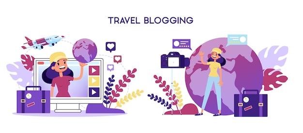 Conceito de blogueiro de viagens. mulher gravando vídeo para blog