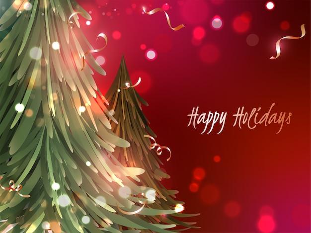 Conceito de boas festas com árvores de natal e efeito bokeh sobre fundo vermelho.