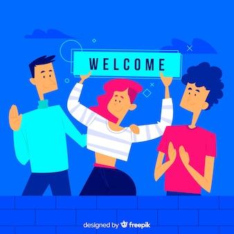 Conceito de boas-vindas para a página de destino