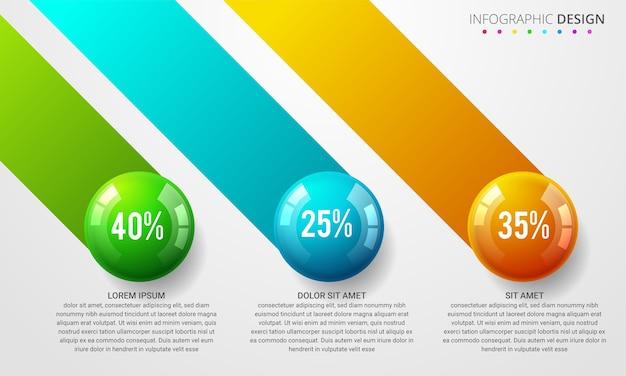 Conceito de bola de infográficos de negócios.