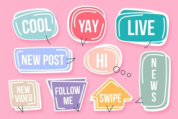 Conceito de bolhas de gíria de mídia social