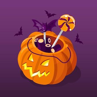 Conceito de bolsa de halloween de design plano