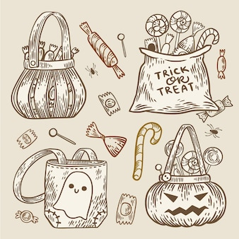 Conceito de bolsa de halloween desenhado à mão
