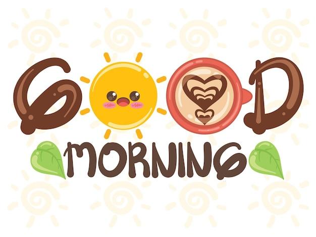 Conceito de bom dia de xícara de sol e café fofo. personagem de desenho animado e ilustração.