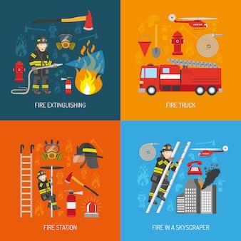 Conceito de bombeiro 4 plana ícones quadrados