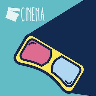 Conceito de bonito dos desenhos animados de cinema 3d óculos