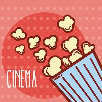 Conceito de bonito dos desenhos animados de cinema caixa de pipoca de milho